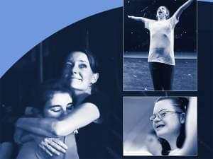 Main photo: Female adult hugs and teenage girl. 2 inset photos of happy kids