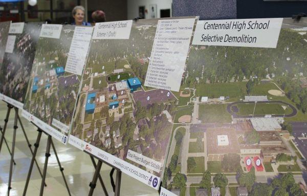 Displays about the future of Centennial High School in the school's library for Thursday's Unit 4 town hall meeting.