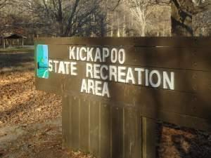 Entrance sign to the Kickapoo State Recreation Area.