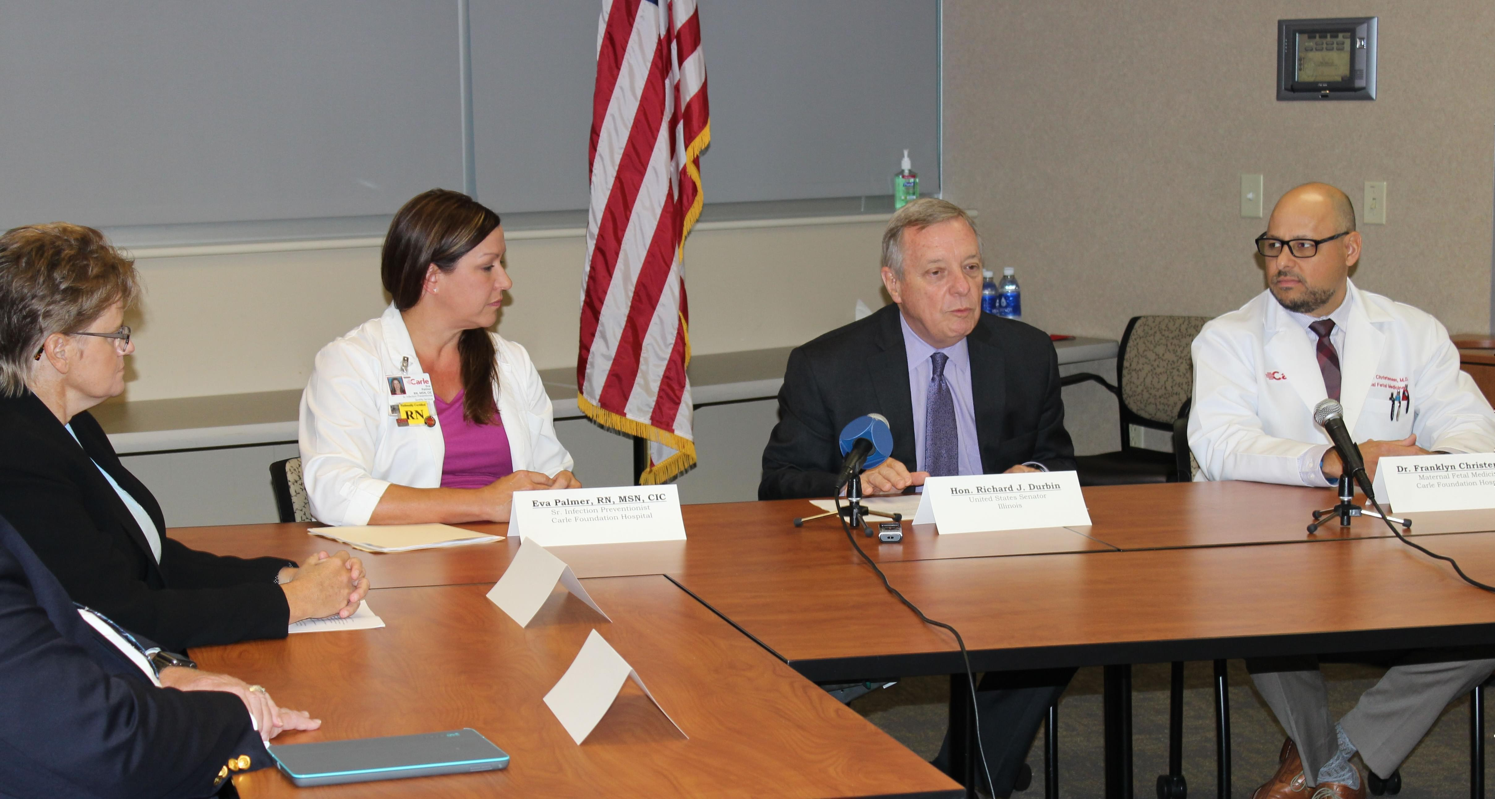 U.S. Senator Dick Durbin meets with a panel of health professionals at Carle Hospital Monday