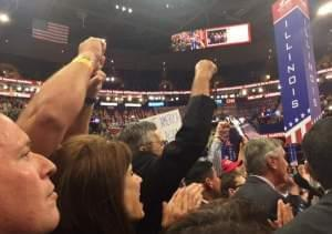 Members of the Illinois delegation at the Republican National convention in Cleveland.