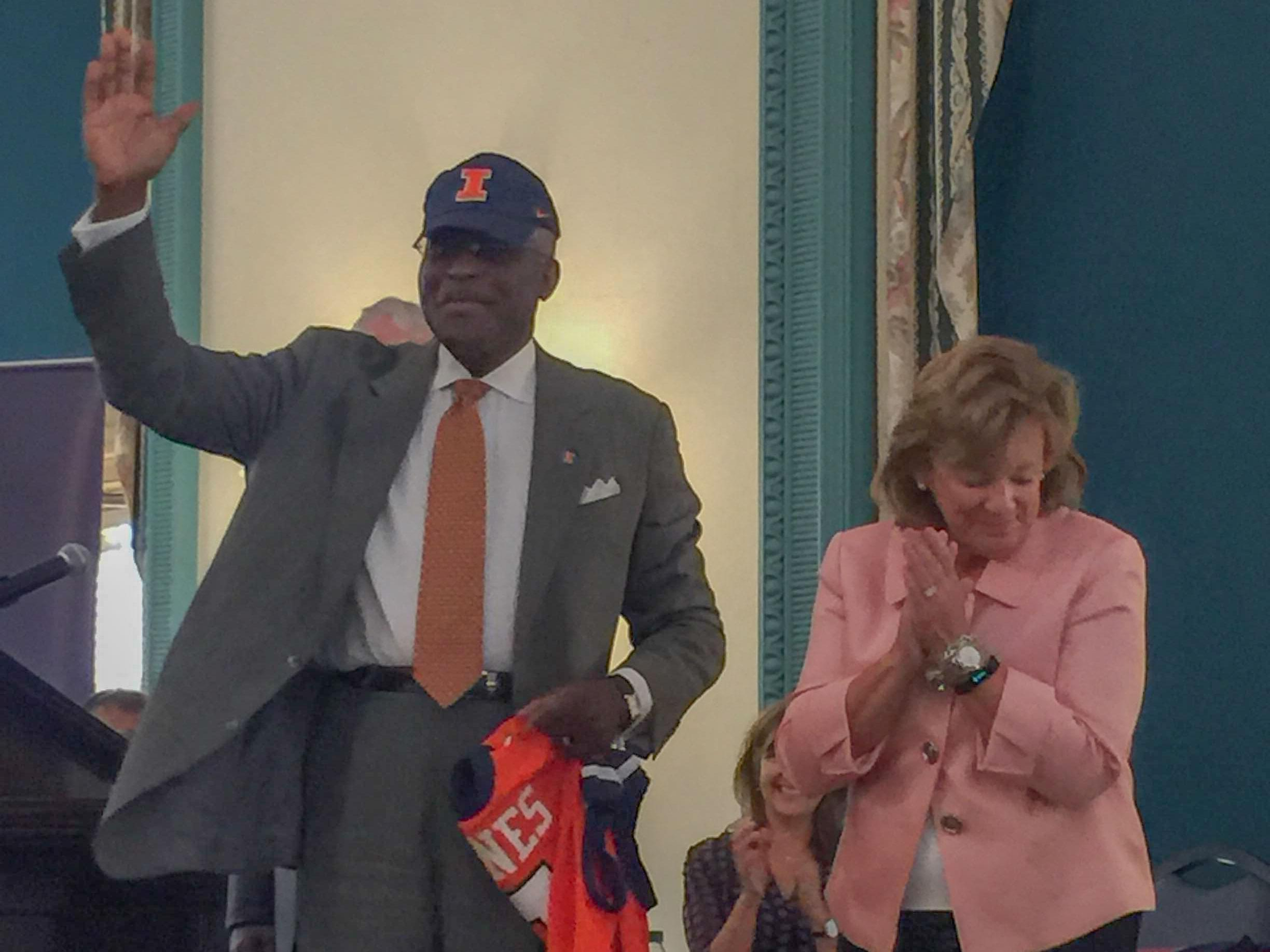 New U of I Urbana Chancellor Robert Jones, joined by Interim Chancellor Barbara Wilson at the Illini Union Wednesday.
