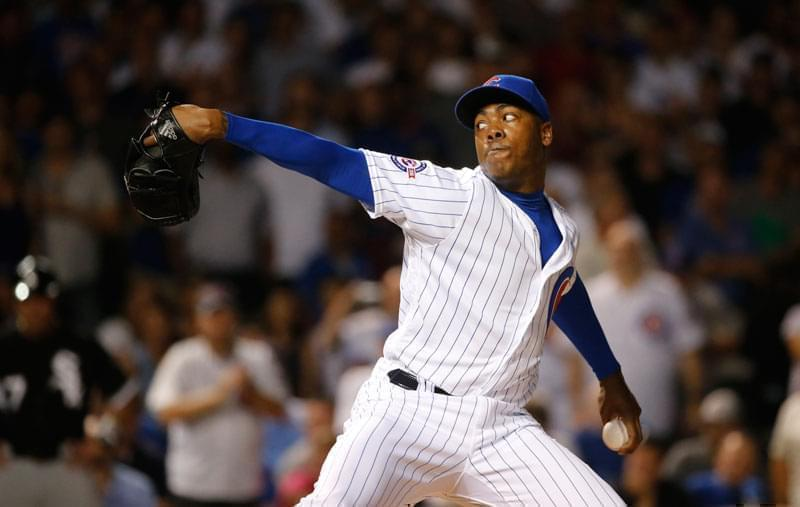 Chicago Cubs relief pitcher Aroldis Chapman delivers during the ninth inning of a baseball game against the Chicago White Sox in Chicago.