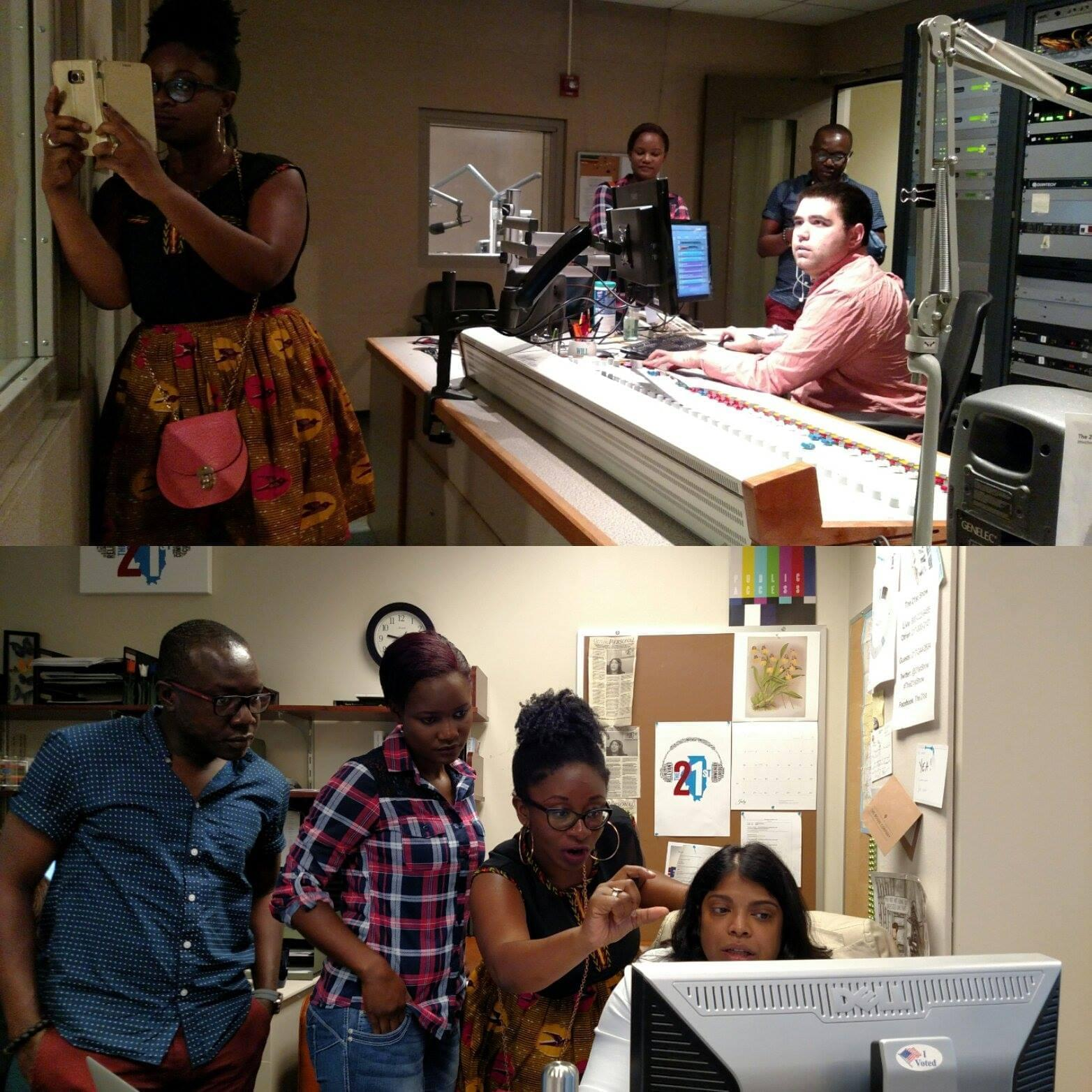Participants in the Mandela Washington Fellowship for Young African Leaders spending time at the WILL radio studios.
