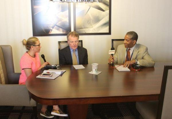 Illinois House Speaker Michael Madigan talks with Amanda Vinicky and WBBM;s Craig Dellimore.