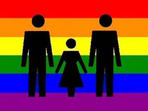 Pride flag superimposed with two male stick figures and one of a child