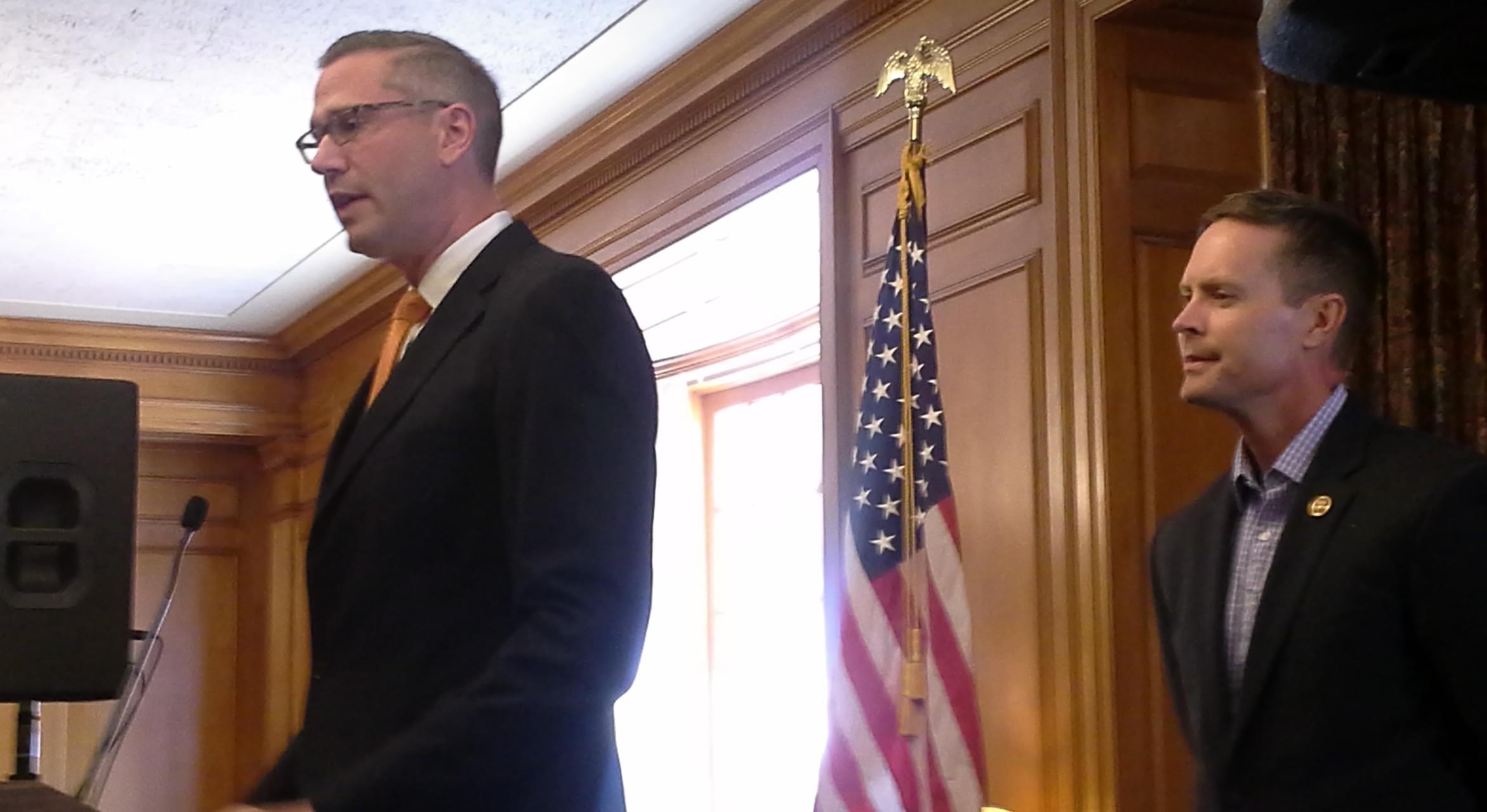State Treasurer Mike Frerichs and U.S. Rep. Rodney Davis.
