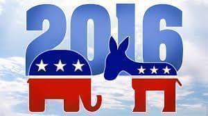 Election 2016 logo featuring donkey and elephant