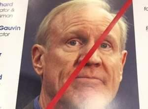 Anti-Rauner poster seen on Democrats Day at the Illinois State Fair.