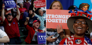 Trump supporters, Clinton supporters