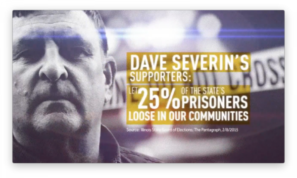 Screen capture from a TV campaign ad from State Rep. John Bradley, D-Marion, attacking his GOP opponent, Dave Severin, over criminal justice reform.