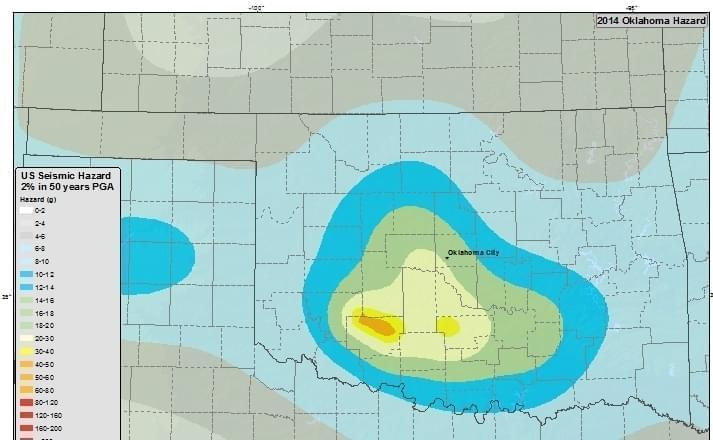 Seismic hazard map for the state of Oklahoma.