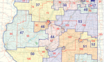 A portion of a map showing Illinois' legislative districts for the state House & Senate.