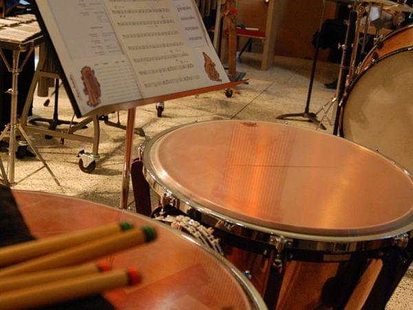 Tympani drums and sheet music