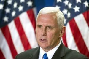 Republican vice president candidate, Indiana Gov. Mike Pence speaks at the Republican National Headquarters on Capitol Hill in Washington, Tuesday, Sept. 13.