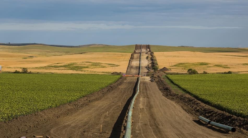 View of the Dakota Access Pipeline being installed near New Salem, North Dakota.