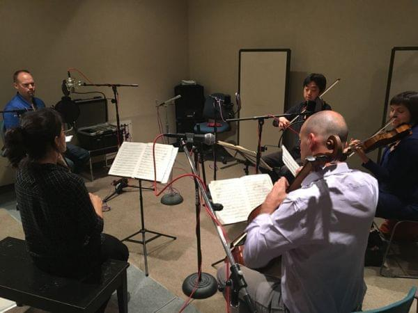 Brian Moline and the Jupiter String Quartet in the WILL studios.