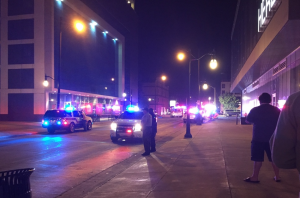 The scene in the 300 block of East Green Street around 1 a.m. Sunday.