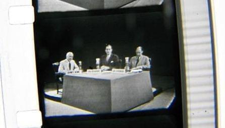 From left: ABC reporter Quincy Howe, Sen. Estes Kefauver and Gov. Adlai Stevenson in a still from the first TV debate between two presidential candidates. The Abraham Lincoln Presidential Library and Museum has one of two known copies of the broadcas
