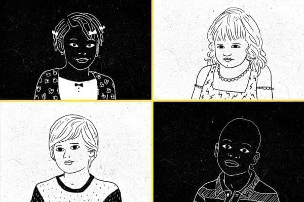 Slide showing four children of different races.