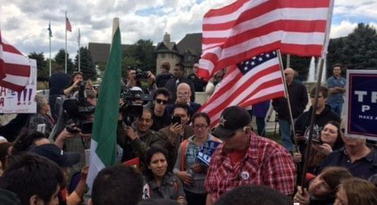 : A mix of Donald Trump supporters and protesters stood outside the Bolingbrook Golf Club as the presidential candidate visited for a fundraiser.