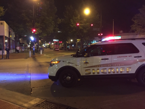 The scene of the shooting near the U of I campus early Sunday morning.