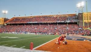In this Sept. 10, 2016 file photo, Illinois running back Kendrick Foster (22) takes a moment to himself before an NCAA college football game against North Carolina at Memorial Stadium in Champaign.