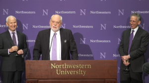 Sir  Fraser Stoddart, chemistry professor at Northwestern University, speaks at a news conference on Wednesday, October 5, 2016. Stoddart is one of three recipients of the 2016 Nobel Prize in Chemistry.