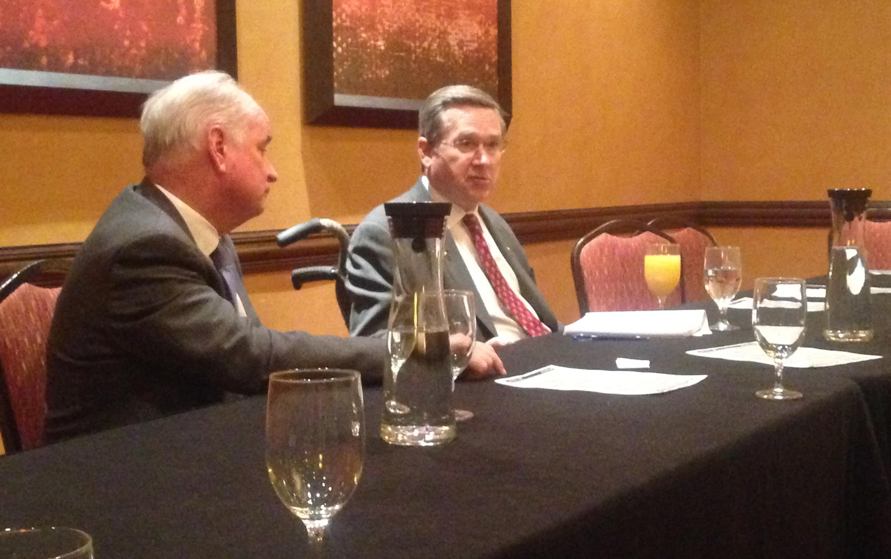 Republican State Representative Dan Brady (L) and GOP U.S. Senator Mark Kirk (R) at the Marriott Hotel in Normal.