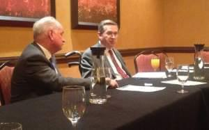 Republican State Representative Dan Brady (L) and GOP U.S. Senator Mark Kirk (R) at the Marriott Hotel in Normal.