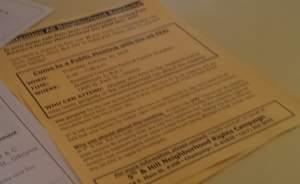 Flyer promoting last week's meeting for residents in Champaign's 5th and Hill neighborhoods.