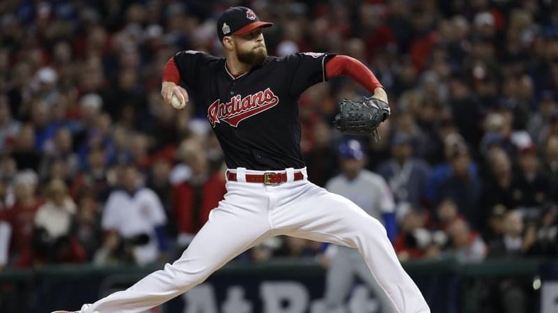 Indians pitcher Corey Kluber in action.