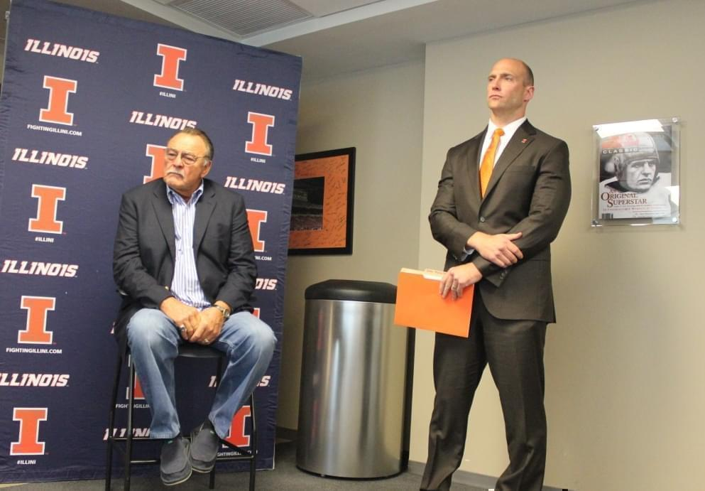 Illini Hall of Fame inductee Dick Butkus and U of I Athletic Director Josh Whitman at Thursday's announcement at Memorial Stadium.