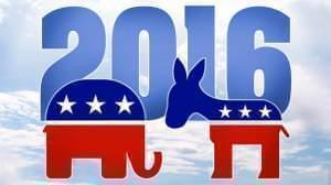 Republican and Democratic party logos