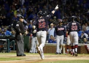 Cleveland Indians' Jason Kipnis (22) celebrates after hitting a three-run home run during the seventh inning of Game 4 of the World Series against the Chicago Cubs, Saturday, Oct. 29, 2016, at Wrigley Field