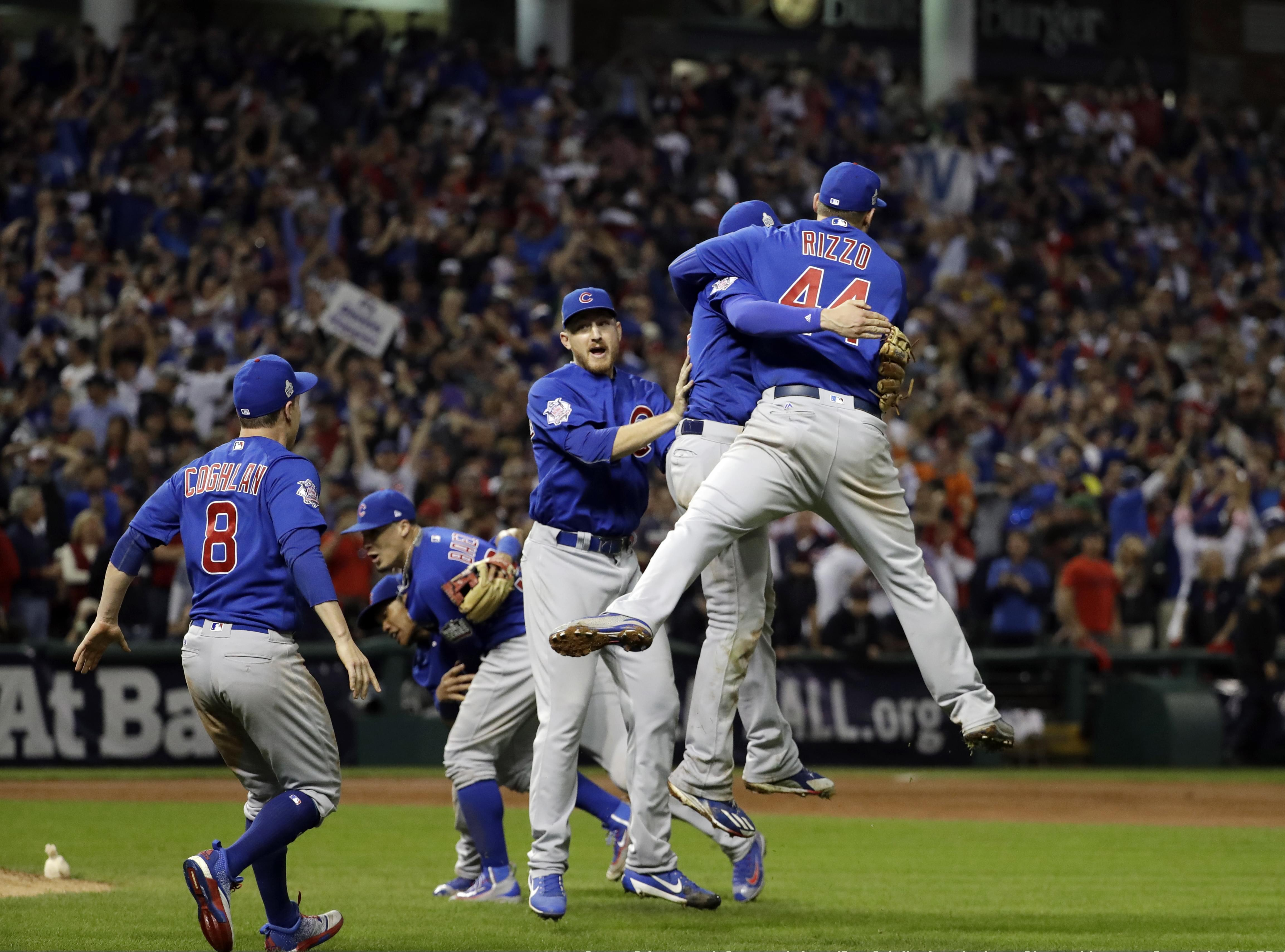 The Chicago Cubs celebrate after Game 7 of the  World Series against the Cleveland Indians Thursday, Nov. 3, 2016, in Cleveland. The Cubs won 8-7 in 10 innings to win the series 4-3.