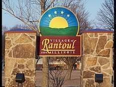 Welcome sign for the village of Rantoul, Illinois.