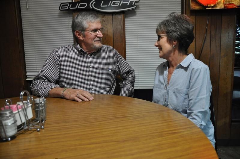Charles and Doris Lehman, of Sparta, Illinois, at the Pour House bar in Marissa, Illinois.