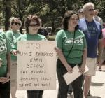 AFSCME members protested at the University of Illinois in the spring.