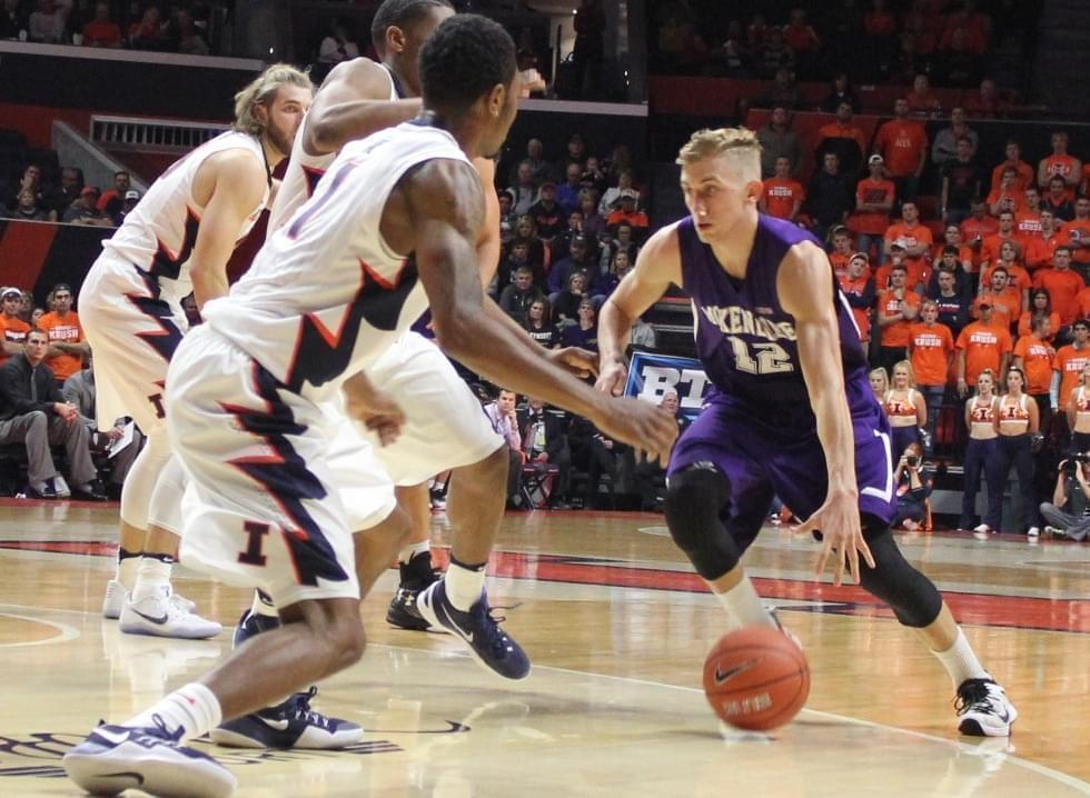 St. Joseph-Ogden graduate Nate Michael, playing for McKendree University against Illinois on Tuesday night.