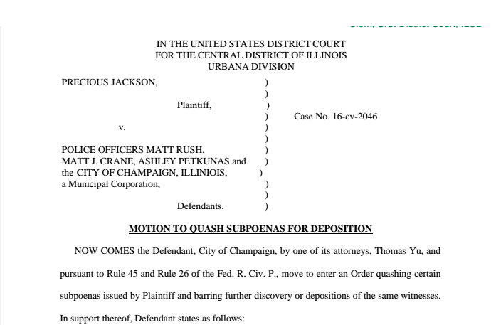 Screenshot of the latest City of Champaign filing in an excessive force lawsuit filed by Precious Jackson.