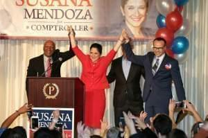 Susana Mendoza celebrates her victory in the race for Illinois comptroller.