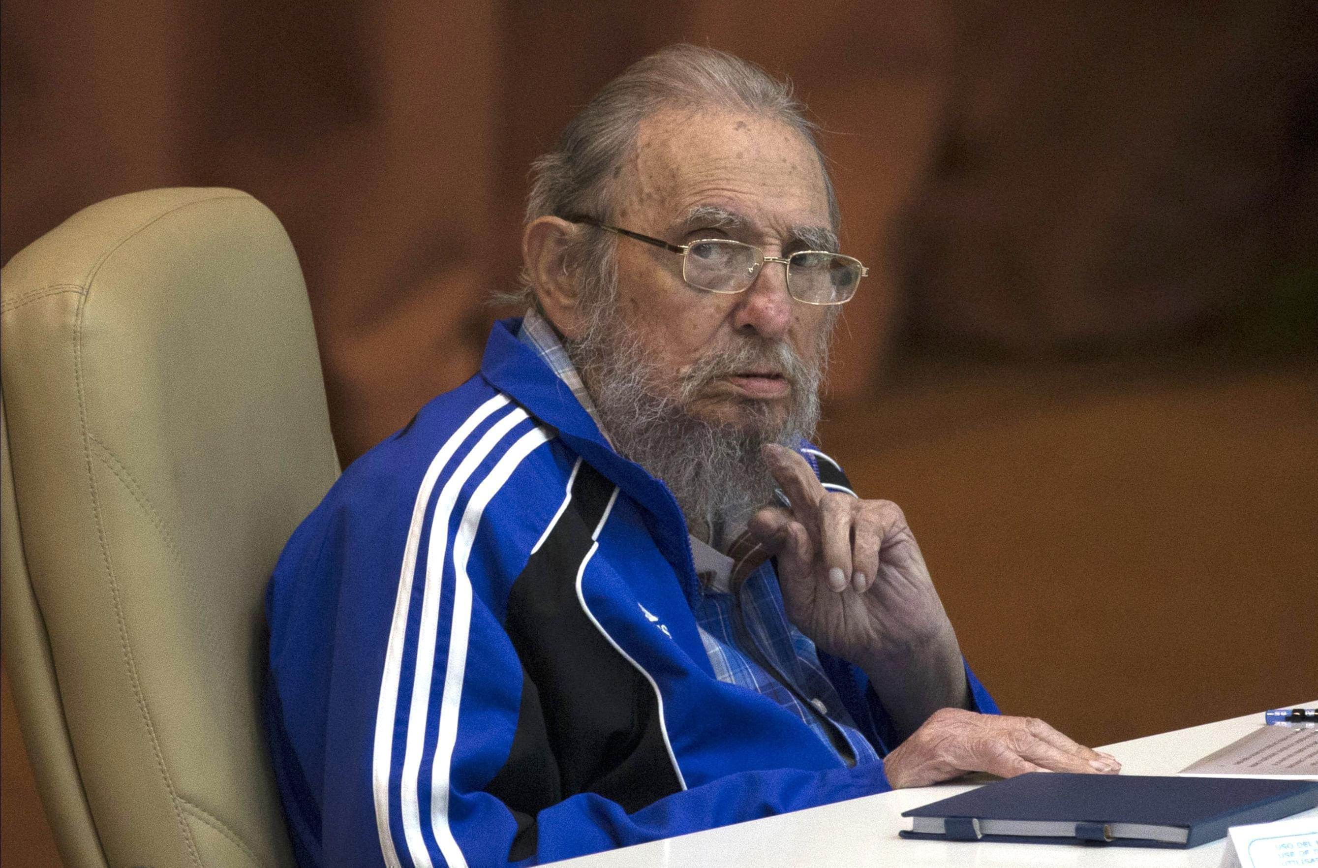 In this April 19, 2016 file photo, Fidel Castro attends the last day of the 7th Cuban Communist Party Congress in Havana, Cuba.