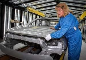 Assembly line at General Motors Fairfax Assembly plant in Kansas City, Missour.