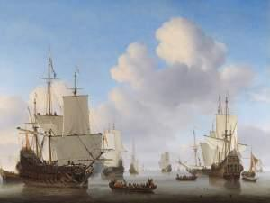 Dutch men-o'-war and other shipping in a calm