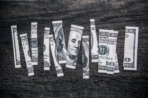 A dollar bill cut into strips.