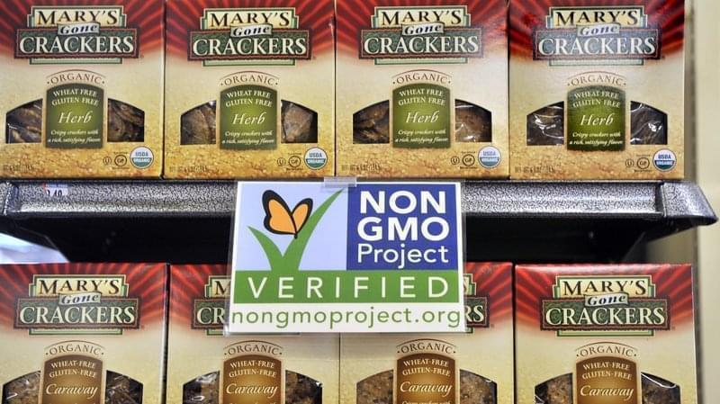A non-GMO shelf label at a Whole Foods store in Portland, Oregon.