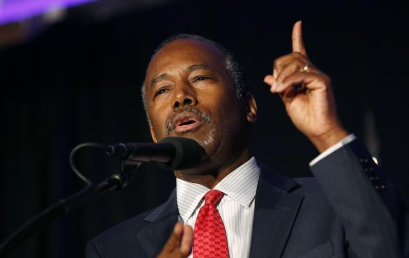 HUD Secretary-designate Ben Carson, speaking at a Donald Trump campaign event in New Hampshire in August, 2016.
