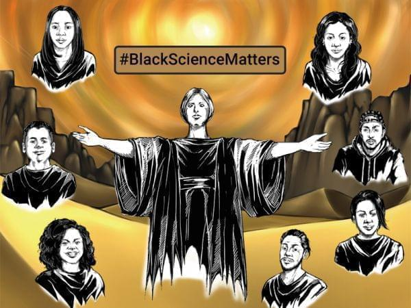 Illustration of University of Illinois Alma Mater with faces of all eight subjects in the series.