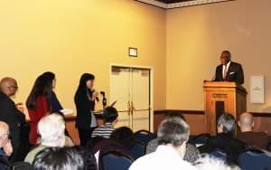 U of I Asian American Studies Professor Naomi Paik addresses Urbana Chancellor Robert Jones and the Academic Senate Monday at the Illini Union.